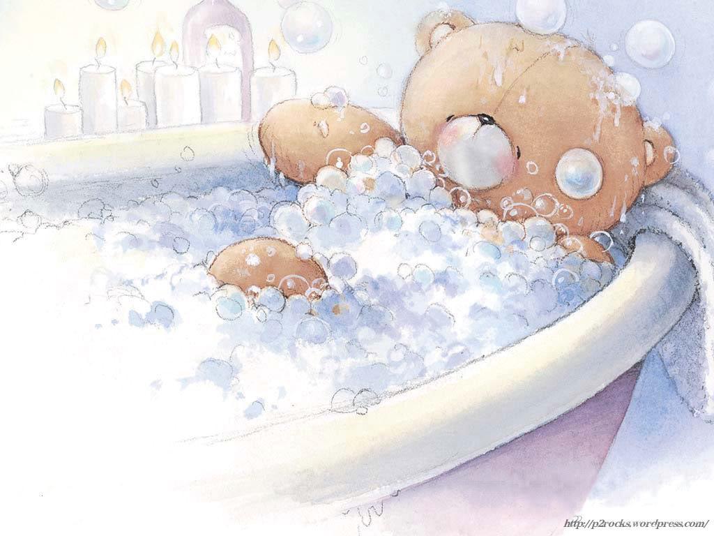 baby bear in bathtub cartoon wallpaper 1024x768 idle ramblings. Black Bedroom Furniture Sets. Home Design Ideas