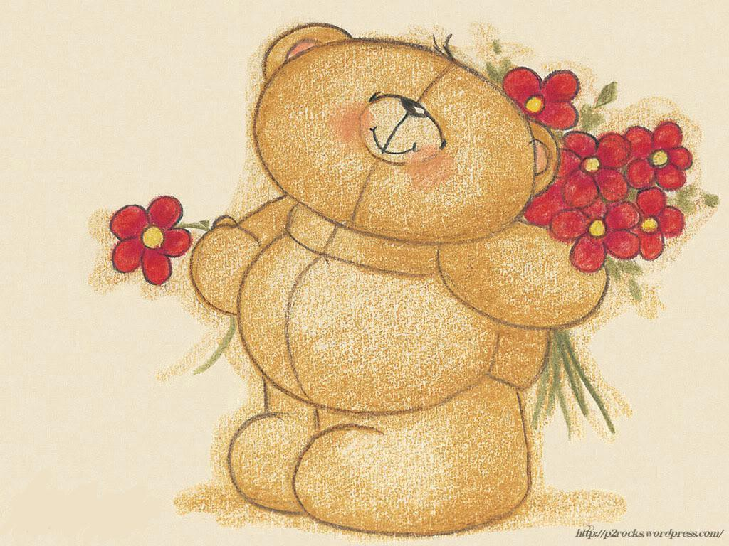 Love Forever cartoon Wallpaper : cute-bear-with-red-flowers-wallpaper_1024x768 Idle Ramblings