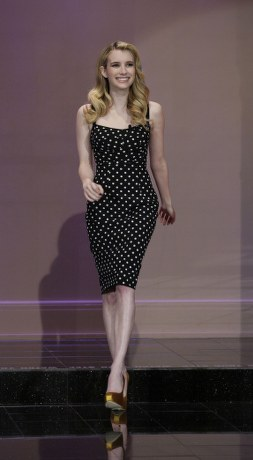 Emma Roberts on The Tonight Show with Jay Leno to promote her latest project Scream 4 in a Dolce & Gabbana polka dot silk dress paired with gold satin Brian Atwood Maniac pumps