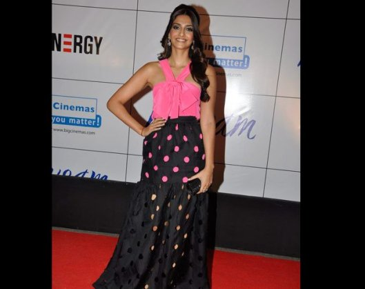 Sonam pink black fashion gown Mausam premiere 2011