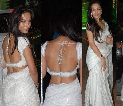Malaika Arora in a white polka dots saree